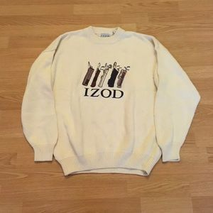 Izod Vintage Embroidered Golf Sweater White Large